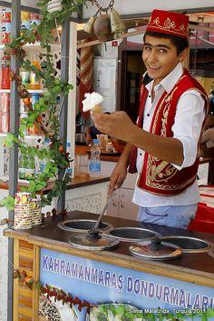 o simpático vendedor de sorvetes (dondurma) em Istambul