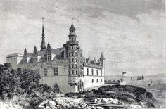 Antique woodcut print :Frederiksborg Palace ,castle,slot,Hillerød Denmark 1867