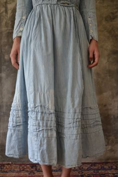 Early 1900s striped country shirt dress