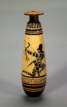 Alabastron: Warriors The Emporion Painter. Ancient Greece, Attica. Circa 470 BC Clay; black-figure painting and cutting. H. 13.7 cm Source of Entry:   State Academy of the History of Material Culture, Leningrad (formerly in the collection of Count Bobrinsky). 1929