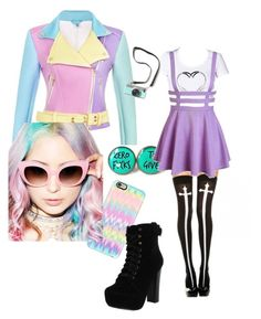 """""""pastel goth with a hint of me ;)"""" by chikachan ❤ liked on Polyvore featuring Casetify, Chelsea Crew, Crap, women's clothing, women's fashion, women, female, woman, misses and juniors"""