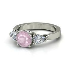 Rose Quartz Rings | Round Rose Quartz Platinum Ring with Diamond | Trios Ring | Gemvara