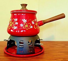 Vintage Retro Fondue Set Enamel Red Flower Daisy Boho Mid Century Party Warmer | Home & Garden, Kitchen, Dining & Bar, Small Kitchen Appliances | eBay!