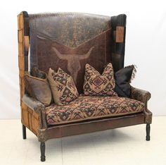 Old Hickory Tannery   Smokehouse Skull Western Settee Western Sofas And  Loveseats   A Large Skull