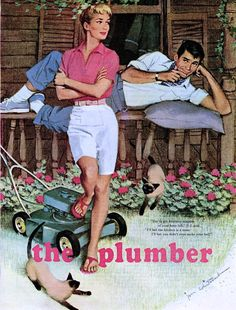 Whitcomb, Jon (b,1906)- illus- Plumber Who Stayed for Dinner- 'McCalls'- Aug. 1959 -2d