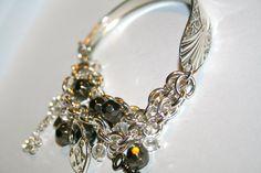 NEW ARRIVAL Spoon handle Charm bracelet Rhinestones keys and Heart Lock charms