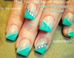 Nail-art by Robin Moses SUMMER TEAL  http://www.youtube.com/watch?v=qaLH1jnnE20