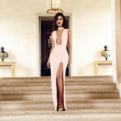 """Glam attitude in the Jehane cut out maxi dress. Shop:houseofcb.com"""