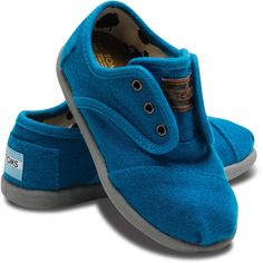 Tiny TOMS Blue Wool Cordones for Toddlers 4 ($29) ❤ liked on Polyvore