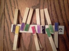 Fine motor skill activity for 5 year old. Pin the clothes pin to the cardboard. We have several numbered strips of cardboard. Our son likes numbers so he thinks this is fun. Activities For 5 Year Olds, Motor Skills Activities, Number Activities, Number Games, Fine Motor Skills, Preschool Class, Kindergarten, Math Numbers, Bucky