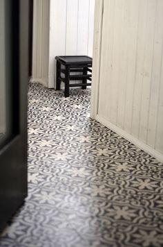Moroccan tiles look amazing as a feature in a smaller space like an entrance hall or bathroom Cottage Bathroom Inspiration, Interior Inspiration, Floor Patterns, Tile Patterns, Bathroom Flooring, Kitchen Flooring, Home Renovation, Home Remodeling, Black And White Tiles