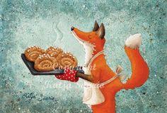 Red fox art by Katja Saario. Fuchs Illustration, Children's Book Illustration, Fox Drawing, Fox Art, Cute Fox, Red Fox, Cute Pictures, Character Design, Art Prints