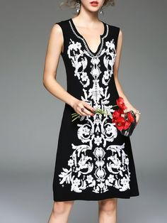 Shop Mini Dresses - Black Embroidered Sleeveless Party Dress online. Discover unique designers fashion at StyleWe.com.