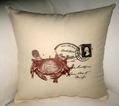 French Beach Cottage Decorating | French Red Crab Beach Cottage Pillow, Ocean Inspired Cushion, French ...