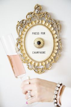 Adorable 'Press for Champagne' sign: Photography : Thomas Dawson Read More on SMP: http://www.stylemepretty.com/living/2016/02/05/champagne-filled-galentines-day-bash/