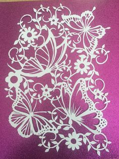 Commercial Use Butterflies paper cutting template A4 potrait