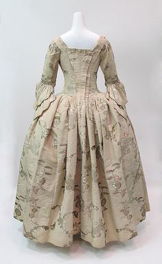 Robe à l'Anglaise, c.1747, altered 1770s | British | The Met. Believed to have been worn as a wedding dress in 1747, this gown displays the exquisite patterning of English dress silks of the period. Sumptuous textiles such as this one signified wealth and were admired for the brilliant effects of light reflecting off their surfaces. Although altered in the 1770s, the dress remains a superb example of the lasting appeal of the era's fine silks.