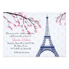 Paris themed Party Invitations