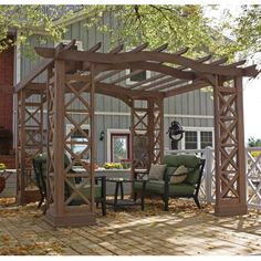 """Yardistry Arched Roof Pergola Color: Tugboat, Size: 144"""" L x 144"""" W x 97.5"""" H"""