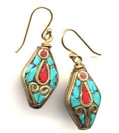 Tibetan Earrings Tibet Earrings Nepal Earrings Coral by Annaart72, $35.00