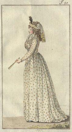 Chemise von gelb gemuschtem Musseline  (chemise of yellow dotted muslin) - July 1795 Journal des Luxus und der Moden