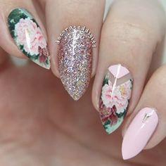 Pink Floral Negative Space Stiletto Nails