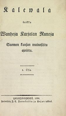 The Kalevala is a 19th century work of epic poetry compiled by Elias Lönnrot from Finnish and Karelian oral folklore and mythology. Regarded as the national epic of Finland & one of the most significant works of Finnish literature. The Kalevala played an instrumental role in the development of the Finnish national identity, the intensification of Finland's language strife and the growing sense of nationality that ultimately led to Finland's independence from Russia in 1917.