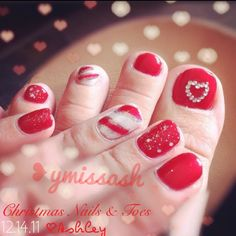 Red, white, silver candy cane nails