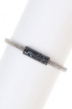Italian Pave Crystal Center Bar Bracelet