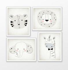 Safari Animals Nursery Print Set Of 4  Lion Tiger by QuantumPrints