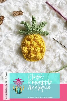 A free crochet pattern for an adorable pineapple appliqué with amazing texture that can be added to any project by Sarah Crochet Sunflower, Pineapple Crochet, Pineapple Pattern, Crochet Flowers, Crochet Applique Patterns Free, Crochet Motif, Free Crochet, Crochet Appliques, Crochet Food