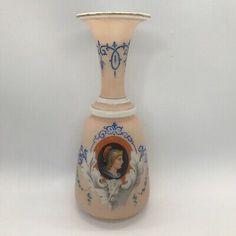 Antique Portrait Vase Bristol Pink Glass Painted Warrior Caesar Portraitware  | eBay