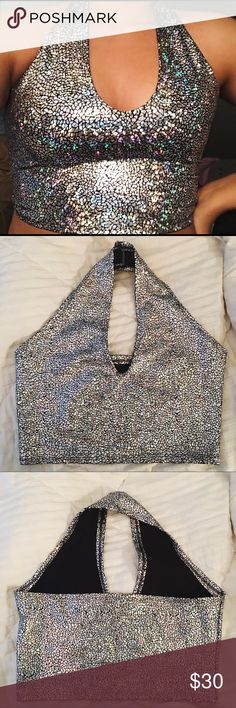 Mi gente clothing halter top Rave with mi gente disco shattered halter top  Never been worn. Only to try on. Not available on site anymore super cute holographic  ✨ Tags: #dollskill #ravemigente #oceanmoon #littleblackdiamond #iheartraves migenteclothing Tops Crop Tops