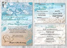 Beach Wedding Invitations and Matching Cards Starfish Invitation Set of 30 - Wedding party invitations (*Amazon Partner-Link)