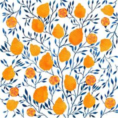 Lemon Pattern // Yellow and Blue Palette