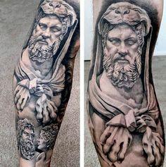 Divine Hero Hercules Mens Leg Sleeve Tattoo Mehr