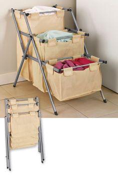 Folding 3-Tier Hamper, Laundry Organizer, Clothes Hamper | Solutions