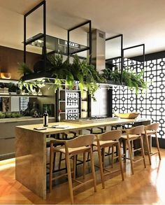 Modern cafe-like island Kitchen Interior, New Kitchen, Kitchen Dining, Kitchen Decor, Küchen Design, House Design, Sweet Home, Rustic Kitchen Design, Industrial House