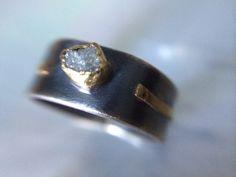 Raw Diamond Rustic Gold Engagement Ring- Organic Recycled Gold  Engagement Ring- Conflict Free Engagement Ring
