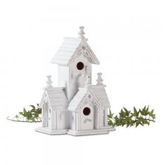 """Victorian style bird house in distressed white wood. Gingerbread trim. 8 1/2"""" x 6 1/2"""" x 12 1/2"""" high. Price: $19.90 www.wildbirdscomfort.com/?route=product/product&product_id=69"""