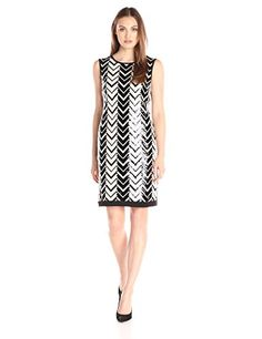 Sandra Darren Womens 1 Piece Sleelveless Chevron Sequin Dress BlackGold 6 * You can find more details by visiting the image link. Note: It's an affiliate link to Amazon.