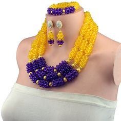 Fashion Nigerian Wedding African Beads Jewellry set Purple Crystal Necklace Bracelet Earrings Jewelry Set #Affiliate