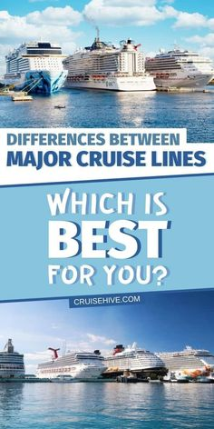 Find out the differences between the major cruise lines to help decide which one is the best for you for that dream cruise vacation. Cruise Excursions, Cruise Destinations, Cruise Port, Cruise Travel, Cruise Vacation, Vacations, Best Cruise Lines, Best Cruise Ships, Cruise Tips Royal Caribbean