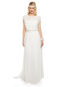 Pre Order Roselyn Off White Wedding Prom Maxi Kleid Vintage 1920er Jahren inspiriert Flapper Great Gatsby Charleston Downton Abbey Art Deco Brautjungfer
