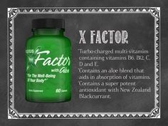 Consuming multivitamin supplements is a good thing. With our poor diets and all the other threats to our health, it's critical to have a high-quality food source of vital nutrients. Plexus X Factor is a turbocharged multivitamin and antioxidant supplement with a never-before-seen formulation of a patented aloe blend and New Zealand Blackcurrant of which results in vastly improved absorption and assimilation for optimal nutrition and wellness protection.