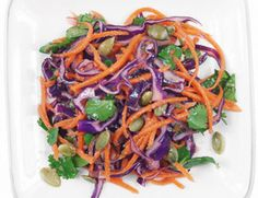 Spicy Orange Slaw  Loved it! Simple, easy to prepare in a hurry. Hint: I would make extra dressing for any leftovers. I skipped the nuts but next time would add them to boost the nutritional value.