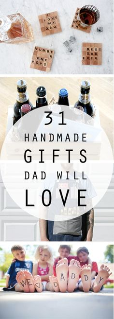 31 Handmade Gifts Dad Will Love When a store-bought gift just won't do justice to how much we LOVE our dads…here is a list of great DIY Father's Day gifts that are easy to make; won't cost an arm and a leg; and Dad will be thrilled to receive! Diy Father's Day Gifts, Father's Day Diy, Diy Christmas Gifts, Craft Gifts, Fathers Day Crafts, Gifts For Father, Gifts For Family, Gifts For Stepmom, Fathers Day Ideas