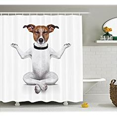 Dog Lover Yoga Sitting Relaxed With Closed Eyes Meditation Shower Curtain Set Hooks