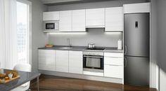 Cocina blanco Condo Kitchen, Modern Kitchen Cabinets, Kitchen Units, Apartment Kitchen, Kitchen Flooring, Kitchen Furniture, Kitchen Remodel, Kitchen Decor, Kitchen Layout Plans