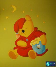 Muurschildering slapende Winnie De Pooh